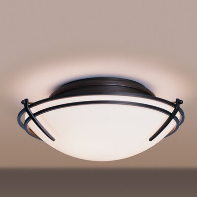 Tryne 2-Light Flush Mount Finish: Black, Shade Color: Stone, Bulb Type: (2) 60W A-19 medium base bulbs