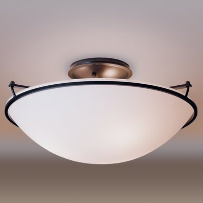 3-Light Semi Flush Mount Finish: Natural lron, Shade Color: Sand, Bulb Type: (3) 100W fluorescent bulbs