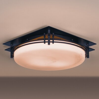 2-Light Flush Mount Finish: Natural lron, Shade Color: Stone, Bulb Type: (2) 60W A-19 medium base bulbs