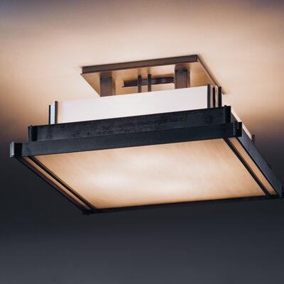 Steppe Square 4-Light Semi Flush Mount Finish: Opaque Dark Smoke, Shade Color: White Art