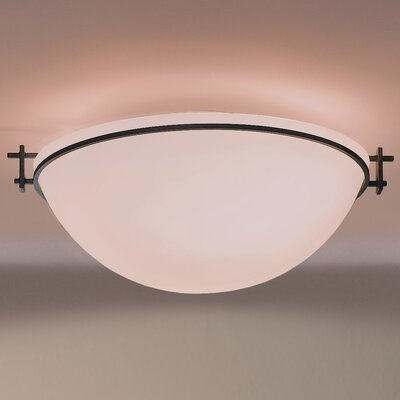 Moonband Large 3-Light Flush Mount Finish: Natural lron, Shade Color: Opal