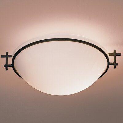 Moonband Medium 1-Light Flush Mount Finish: Mahogany, Shade Color: Opal