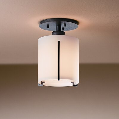 Exos Wave Small Round 1-Light Semi Flush Mount Finish: Natural lron, Shade Color: Opal
