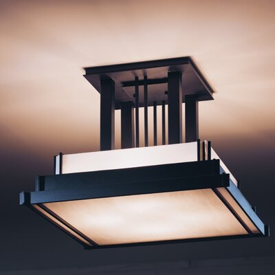 Steppe 4-Light Art Glass Semi Flush Mount Finish: Opaque Brushed Steel, Shade Color: White Art