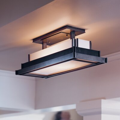 Steppe Square 2-Light Semi Flush Mount Finish: Black, Shade Color: Ivory Art