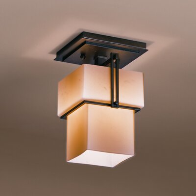 Kakomi 1-Light Semi Flush Mount Finish: Mahogany, Shade Color: Stone