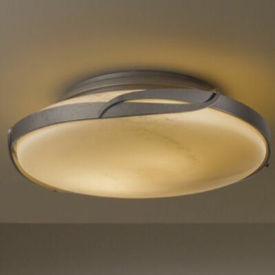 Flora 2-Light Semi-Flush Mount Glass: Pearl, Finish: Opaque Natural Iron
