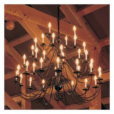 36-Light Candle-Style Chandelier Finish: Mahogany