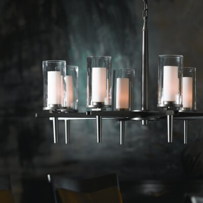 Constellation 8-Light Candle-Style Chandelier Finish: Brushed Steel, Shade Color: Opal
