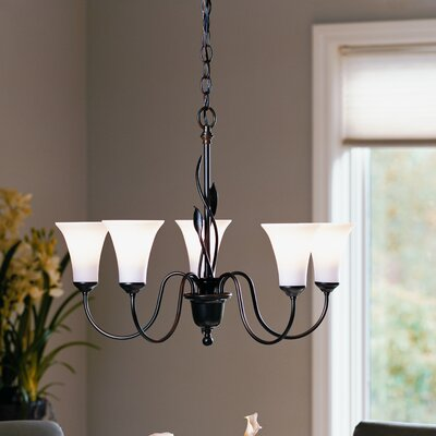 Forged Leaves 5-Light Shaded Chandelier Finish: Mahogany, Shade Color: Opal