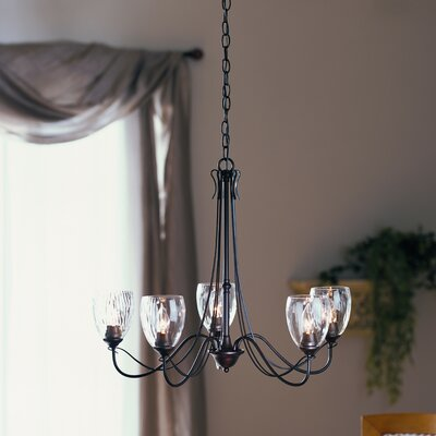 5-Light Shaded Chandelier Finish: Brushed Steel