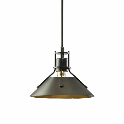 Henry 1-Light Mini Pendant Finish: Burnished Steel, Size: 43.2 H x 9.2 W