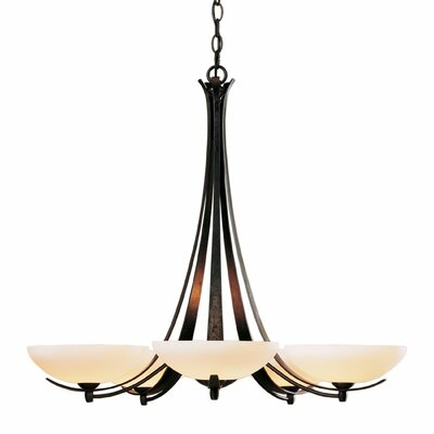Aegis 5-Light Candle-Style Chandelier Finish: Brushed Steel, Shade Color: Pearl