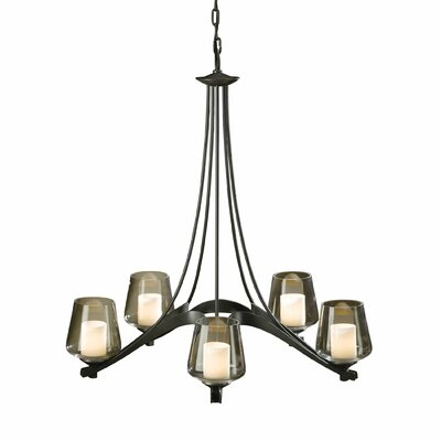 Ribbon 5-Light Candle-Style Chandelier Finish: Natural lron, Shade Color: Opal