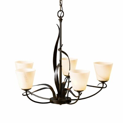 Flora 5-Light Shaded Chandelier Glass Type: Opal Glass Dome, Finish: Natural Iron