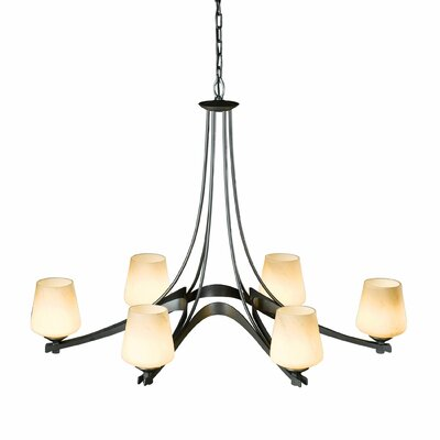 Ribbon 6-Light Candle-Style Chandelier Bulb Type: (6) 100W A-19 medium base bulbs, Shade Color: Pearl, Finish: Mahogany