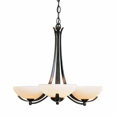 Aegis 3-Light Candle-Style Chandelier Finish: Brushed Steel, Shade Color: Pearl
