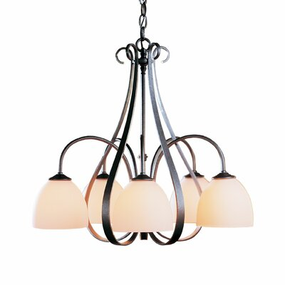 5-Light Shaded Chandelier Finish: Natural lron, Shade Shape: Dome, Shade Color: Pearl