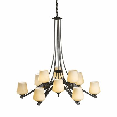 Ribbon 12-Light Candle-Style Chandelier Bulb Type: (12) 75W A-19 medium base bulbs, Shade Color: Pearl, Finish: Mahogany