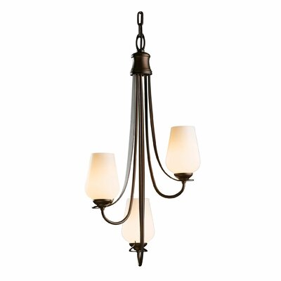 Flora 3-Light Shaded Chandelier Finish: Natural lron, Shade Color: Opal