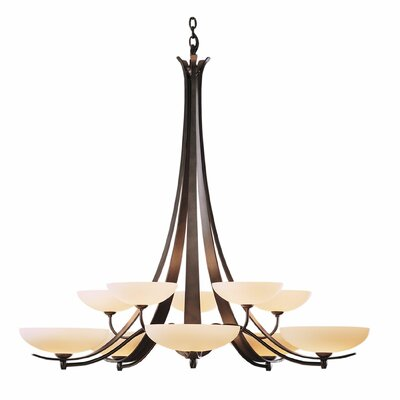 Aegis 10-Light Candle-Style Chandelier Finish: Dark Smoke, Shade Color: Opal