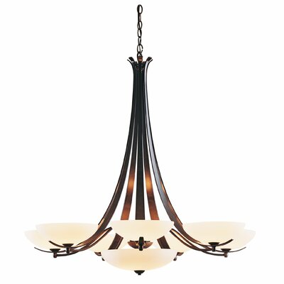 Aegis 9-Light Candle-Style Chandelier Finish: Natural lron, Shade Color: Opal