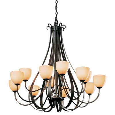 12-Light Candle-Style Chandelier Finish: Natural lron, Shade Color: Pearl