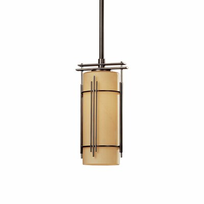 Paralline 1-Light Mini Pendant Glass: Stone, Finish: Opaque Black