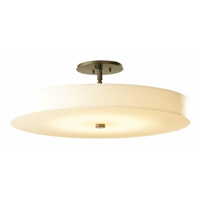 Disq 1-Light Semi Flush Mount Shade Color: Spun Frost, Finish: Mahogany