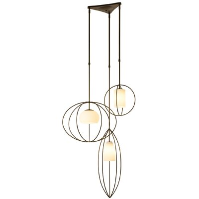 Interlude Treble 3-Light Cluster Pendant Finish: Burnished Steel, Size: Medium