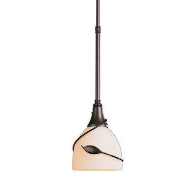 Twining Leaf Small 1-Light Pendant Glass: Opal, Finish: Translucent Burnished Steel