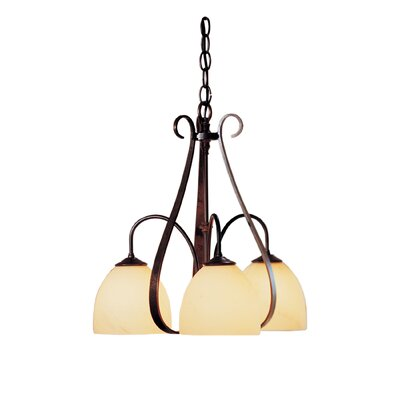 3-Light Shaded Chandelier Finish: Natural lron, Shade Shape: Dome, Shade Color: Opal