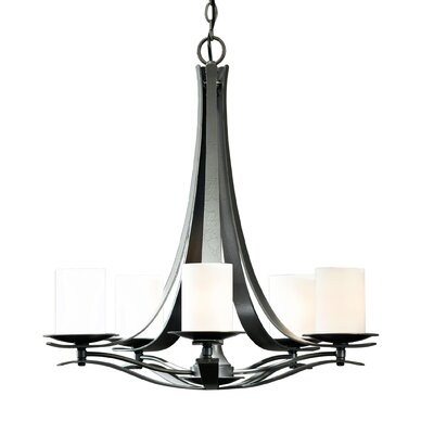 Berceau 5-Light Shaded Chandelier Finish: Natural lron, Shade Color: Pearl, Bulb Type: (5) 60W fluorescent base bulbs