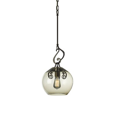 Lure 1-Light Mini Pendant Finish: Burnished Steel, Shade Color: Green Tea