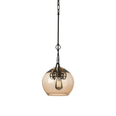 Lure 1-Light Mini Pendant Shade Color: Rose, Finish: Dark Smoke