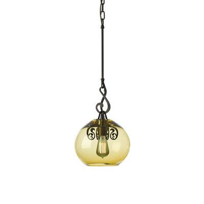 Lure 1-Light Mini Pendant Finish: Dark Smoke, Shade Color: Green Tea