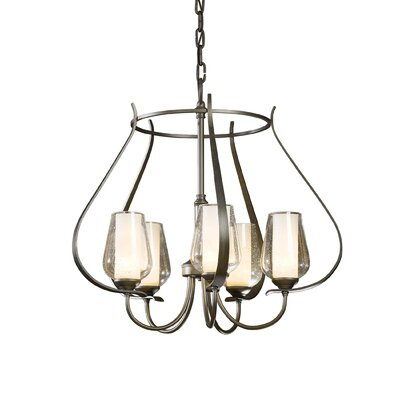Flora 5-Light Foyer Pendant Finish: Mahogany, Glass Type: Seeded Clear Glass