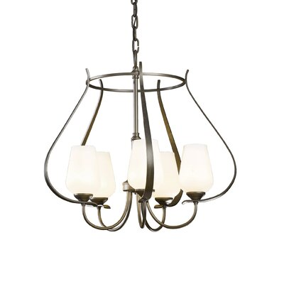 Flora 5-Light Foyer Pendant Finish: Burnished Steel, Glass Type: Opal Glass