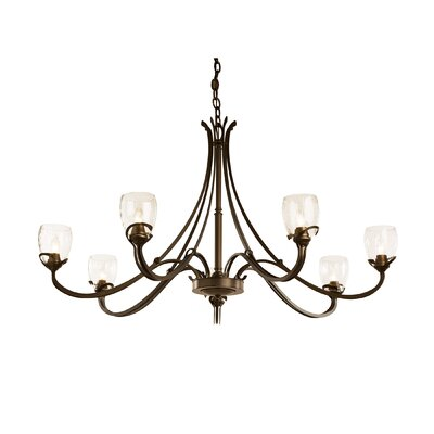 Aubrey 7-Light Candle-Style Chandelier Finish: Bronze, Shade Color: Water
