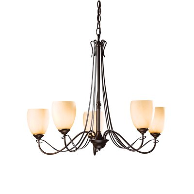 Trellis 5-Light Candle-Style Chandelier Finish: Natural lron, Shade Color: Pearl