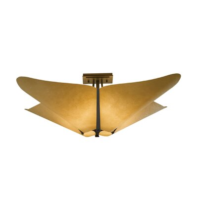 Kirigami 4-Light Semi Flush Mount Shade: Natural Cork, Finish: Translucent Burnished Steel