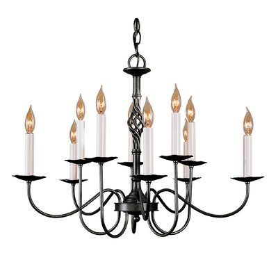 10-Light Candle-Style Chandelier Finish: Natural lron