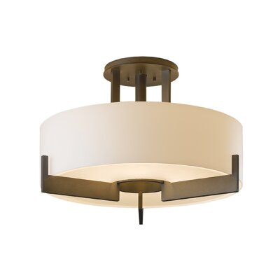 Axis Medium 3-Light Semi Flush Mount Finish: Dark Smoke, Shade Color: Opal, Bulb Type: (3) 100W fluorescent bulbs