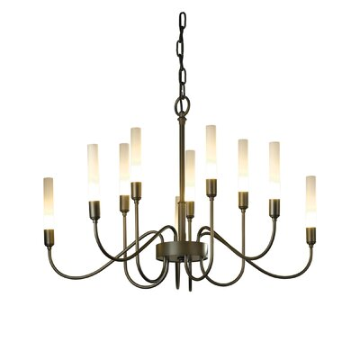 Lisse 10-Light Candle-Style Chandelier Finish: Burnished Steel