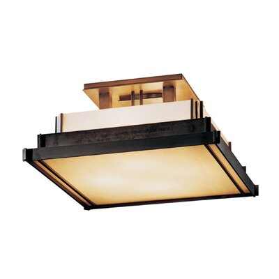 Steppe Square 4-Light Semi Flush Mount Finish: Opaque Brushed Steel, Shade Color: Ivory Art