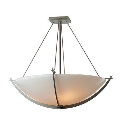 Compass Medium 3-Light Semi Flush Mount Finish: Natural lron, Shade Color: Opal