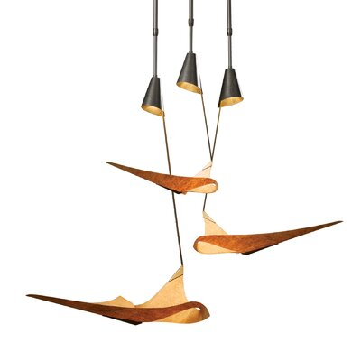 Icarus 3-Light Cluster Pendant Finish: Translucent Burnished Steel, Glass: Natural Cork