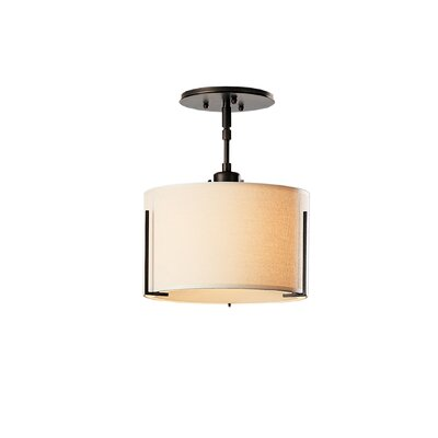 Exos Single Shade 1-Light Semi Flush Mount Finish: Translucent Mahogany, Shade: Natural Linen