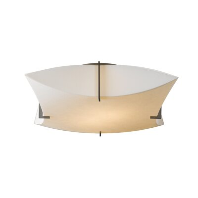Bento 2-Light Semi Flush Mount Shade: Spun Frost, Finish: Opaque Natural Iron