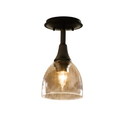 1-Light Semi Flush Mount Finish: Natural lron, Shade Color: Opal, Bulb Type: (1) 100W A-19 medium base bulbs